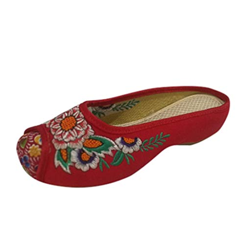 Eaylis Damen Sandalen Alte Peking Tuch Schuhe Sandalen National Bestickten Sehnen Sohlen Blumen 35-50 Sommer Strand Schuhe Hausschuhe Stilvoll und elegant