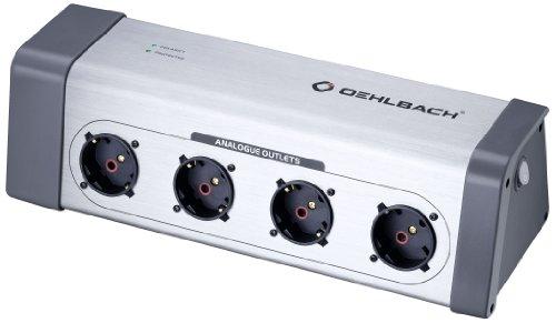 Oehlbach XXL® Powersocket 908 | High-End Mehrfach-Steckdosenleiste für Hifi Geräte, Überspannungsschutz | 4 gefilterte Steckplätze - silber