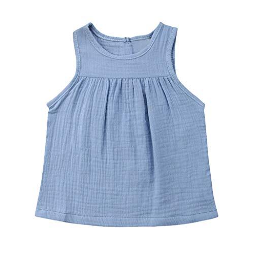 JUTOO Kleinkind-Baby-Kind-Mädchen-Sleeveless Normallack-Geraffte Weste übersteigt beiläufige Kleidung ()