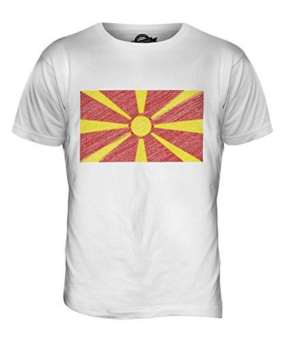CandyMix Mazedonien Kritzelte Flagge Herren T Shirt Weiß