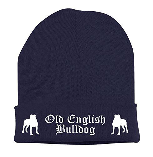 Strickmütze BAD - OLD ENGLISH BULLDOG OEB Olde English Bulldogge USA - Stickerei ALTDEUTSCH Hund Winter Mütze Wintermütze Beanie Mütze Siviwonder navy-weiß (Navy Hund Old)