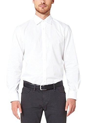 s.Oliver BLACK LABEL Herren Modern Fit Business Hemd Poplin, Gr. Kragenweite: 37 cm, Weiß (White 0100)