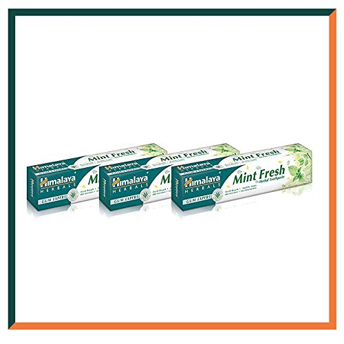 Himalaya Herbals Gum Expert Mint Fresh Herbal Toothpaste 75ml Plaque And Germ Removal Tooth and Decay Prevention. Paraben Free and Fluoride Free Toothpaste. 100% Vegetarian (SAVER PACK - Pack of 3) -