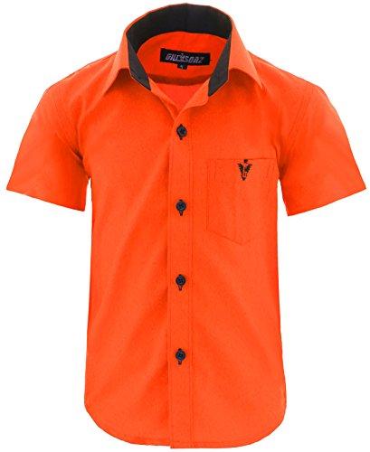 GILLSONZ A70vDa Kinder Party Hemd Freizeit Hemd bügelleicht Kurz ARM 7 Farben Gr.86-158 (104/110, Orange)