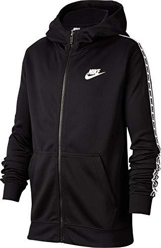 Nike Jungen B NSW Repeat FZ Poly Hood Sweatshirt, Black/White, XL - Kinder, Die Nike Full-zip Fleece
