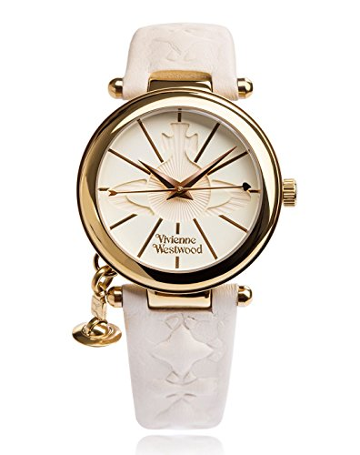 Vivienne Westwood Women's Orb II Quartz Watch with White Dial Analogue Display and Leather Strap VV006WHWH