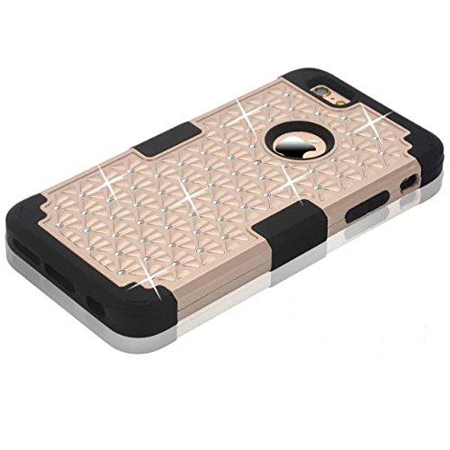 IPhone 6 Case Plus, Lantier 3 en 1 coque en plastique dure avec silicone High Impact antichoc clouté strass cristal Bling Heavy Duty hybride robuste Housse de protection pour IPhone 6 Plus [Rose/Noir] Iphone 6 plus Pink/Black
