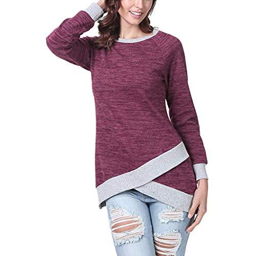 TOPKEAL Langarmshirt Damen Herbst Langarm Unregelmäßig Sweatshirt Casual T-Shirt Lose Einfarbig Bluse Oberteil Top (rot, L)