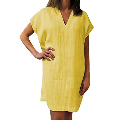Yvelands Damen T-Shirt Kleid Lose Baumwolle und Leinen Solide Kurzarm V-Ausschnitt Minikleid(Gelb,XL)