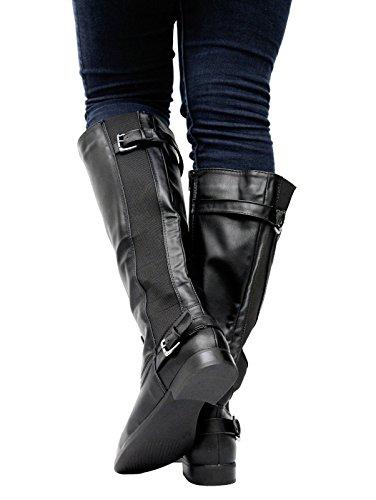Femme à fermeture éclair avec soufflet d'équitation Biker en cuir Mesdames Mollet Genou Haute Bottes Chaussures Taille Noir - Noir verni