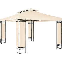 TecTake Tonnelle de Luxe Tente Gazebo pavillon de Jardin d'événement 390x290x265 cm | Éléments d'Angles recouverts de Tissu - diverses Couleurs au Choix - (Crème | no. 402462)