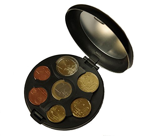 Caja MaxBox para monedas de euro, de aluminio, práctica caja para guardar monedas negro