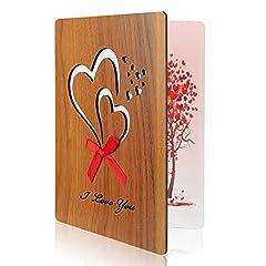 Idea Regalo - TUPARKA Biglietto di auguri in legno giorno di padri Ti amo biglietto di imitazione per anniversario, festa del papà, compleanni, matrimoni e occasioni speciali