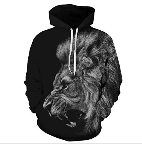 XIAOGUdeHDS Mode löwe mit Kapuze Hemden männer/Frauen gedruckt 3D Hoodies Lässige grafische Hoodie lustig Sweat Shirt tie-dye Sweatshirt, Schwarz, M - Tie-dye-sweatshirt Frauen Für
