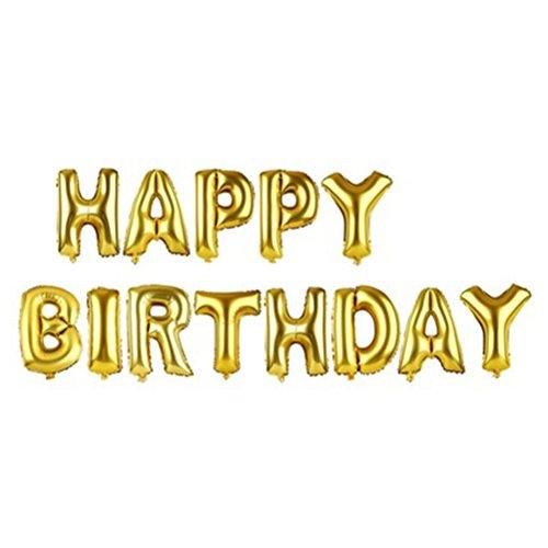 NUOLUX Alfabeto Cartas Globos Feliz Cumpleaños Decoración de Fiesta Mylar Foil Letra Globos (Oro)