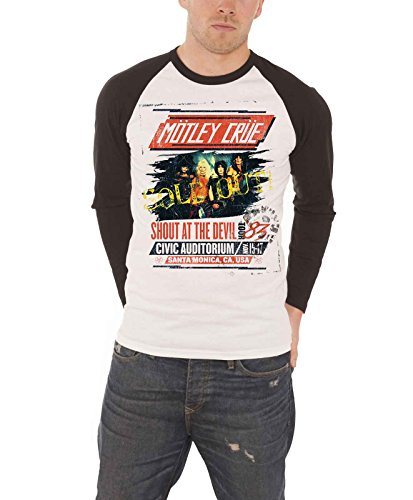 Motley Crue T Shirt Herren shut at the Devil Tour Poster offiziell Baseball T (Glam Baumwolle Rock)