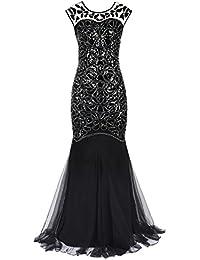 PrettyGuide Femmes 1920s Noir Paillette Gatsby Longueur de Plancher Soirée Robe De Bal