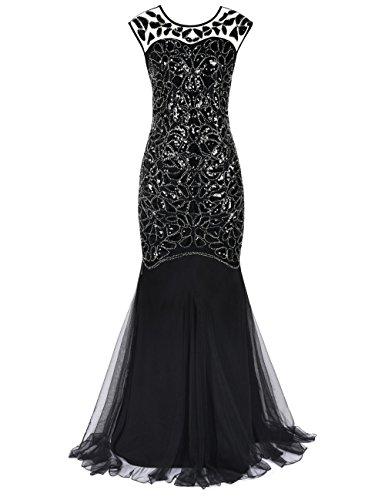 PrettyGuide Damen 1920s Schwarz Pailletten Gatsby Bodenlangen Abendkleid , Gold , 40-42...