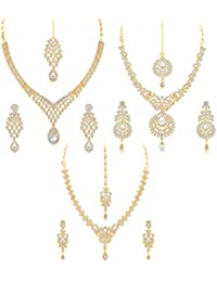 Sukkhi Stylish Gold Plated Wedding Jewellery Austrian Diamond Choker Necklace Set Combo For Women (CB73396)