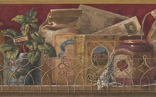 Retro Art Roll-Vintage Gewürze im Boxen Küche Regal Granat Rot braunen Tapeten Grenze Retro-Design, 15' x 9