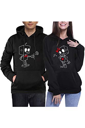 Jumojufol Passend Paar Kapiert Sweatshirts Seine  Ihr Roboter Packung Schwarz Frauen XL+Männer M (Seine Ihrs Pullover)