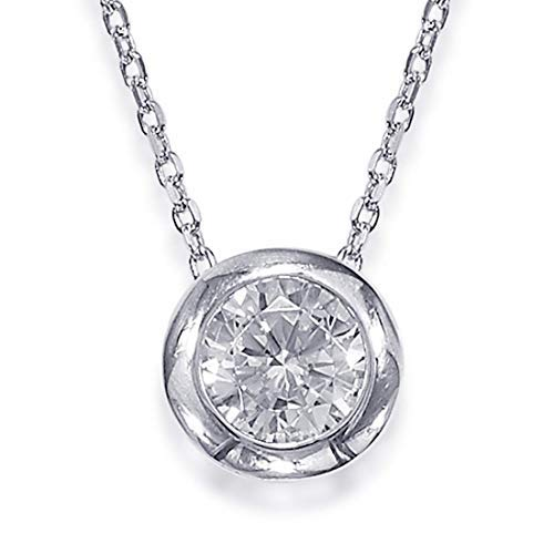 "Peora Silver Plated Stunning CZ Solitaire 16"" Necklace for Women Girls with Extender"