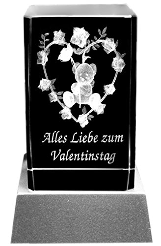 Kaltner Präsente Stimmungslicht – Ein ganz besonderes Geschenk: LED Kerze / Kristall Glasblock / 3D-Laser-Gravur Valentin Motiv Herz ZUM VALENTINSTAG (Frauen-herz-tag)