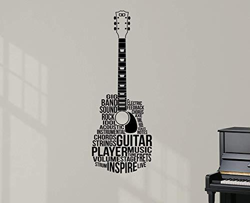 Designdivil Wall Decals Gitarre geprägt Text. Premium-vinylwand-Kunst-abziehbild-Aufkleber.