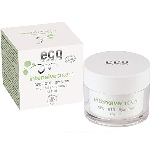 eco cosmetics Bio Intensivcreme Tagescreme mit OPC, Q10 und Hyaluronsäure, vegane Anti Faltencreme, LSF 10, 1x 50 ml