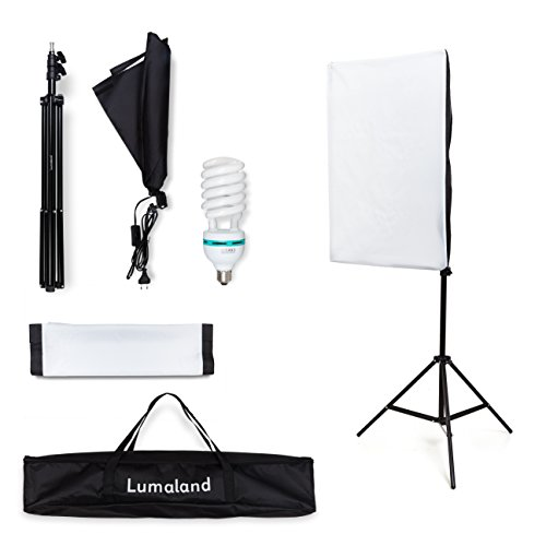 Lumaland Studioleuchte Faltbare Softbox Fotostudio Set 50 x 70 cm inkl. Leuchtmittel Stativ Tragetasche 55W Leuchte