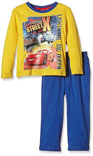 Disney Jungen Zweiteiliger Schlafanzug Crazy Race Cars, Gelb (Corn), 128 (Herstellergröße: 8 Years)