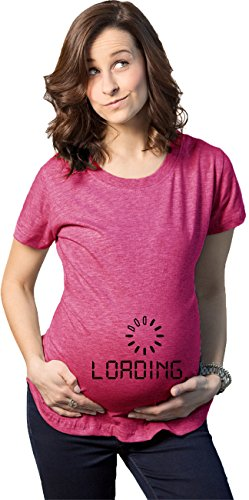 Maternity Baby Loading Shirt Humor Funny Pregnancy Shirts Cheap Tees (Pink) 3XL