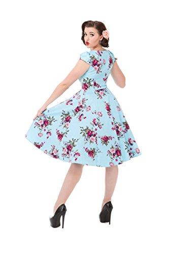 Pretty Kitty Schwarz hellblauen Blüten-Blumendruck Baumwolle 50s Kleid -