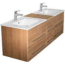 Amazonfr Meuble Salle De Bain Double Vasque Bois - Double vasque salle de bain bois