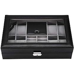 yuyte Multifonctionnel 8 + 2 grilles Montres Cas de Rangement, Organisateur et étui à Bijoux d'affichage(Blanc)
