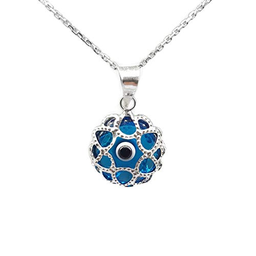 Mystic Jewels By Dalia - Halskette Mal aus Glas und 925 Sterlingsilber - Türkisches Auge Filigranes - für Männer und Frauen