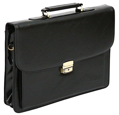 Borsa da ufficio porta laptop con tracolla - pelle sintetica - Nero
