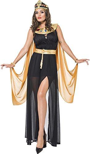 Of Nile Kostüm Queen The Schwarze - Smiffy's 55030L - Queen of the Nile Kostüm Kleid mit geteilter Front Gürtel Halskragen, schwarz