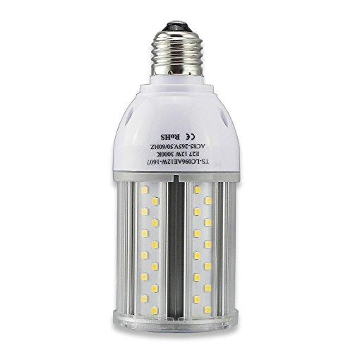Tongsung LED-Lampen, 12W Warme Weiße(3000K) mit breitem Eingangsspannung AC85V-265V, Super Bright Light Output(1200 LM), mit Aluminiumlegierung Bau und Staubschutz (Schutzstufe : IP64). E27 Cap