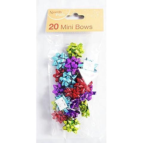 Confezione Da 20 Mini Regalo Di Natale Fiocchi Paillettes regalo fiocchi Nastro Wrap Piccolo archi-viola