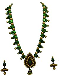 Dev Aabaranam Pearl Metalic Green And Maroon Color With Gold Beeds Terracotta Long Necklace.