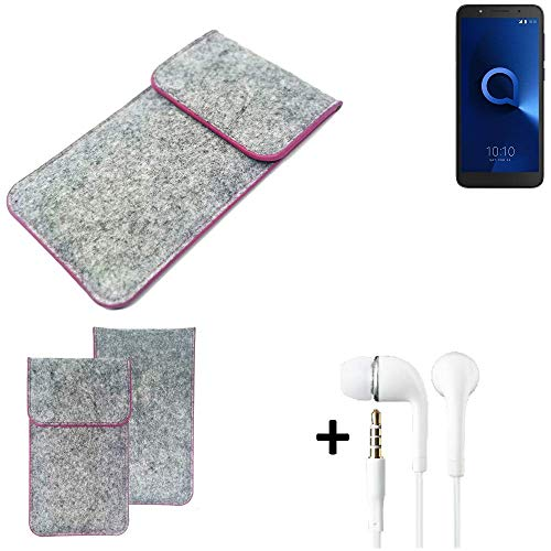 K-S-Trade® Filz Schutz Hülle Für -Alcatel 1C Single SIM- Schutzhülle Filztasche Pouch Tasche Case Sleeve Handyhülle Filzhülle Hellgrau Pinker Rand + Kopfhörer