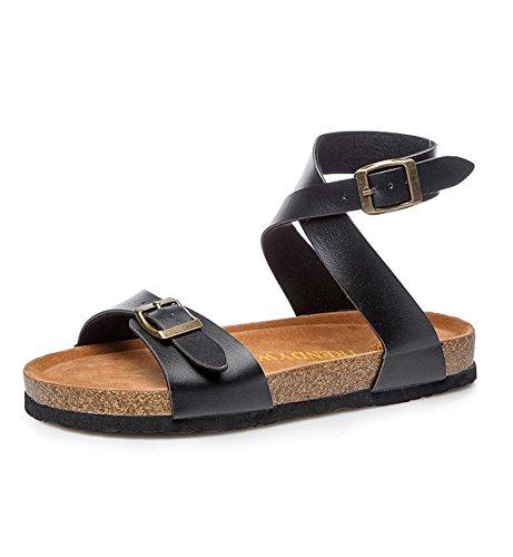 Sandali Sughero Donna - Scarpe Da Spiaggia - Con Cinturino Alla Caviglia Nero