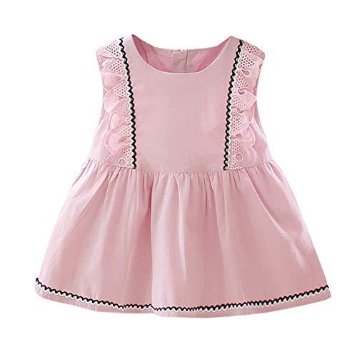 Knowin Baby Baby Kurzarm Baby Mädchen ärmellose Spitze Solid Print Rüschen Prinzessin Kleid Kleidung für Babys Pettiskirt Geburtstag Geschenk Outfits Verkleidung