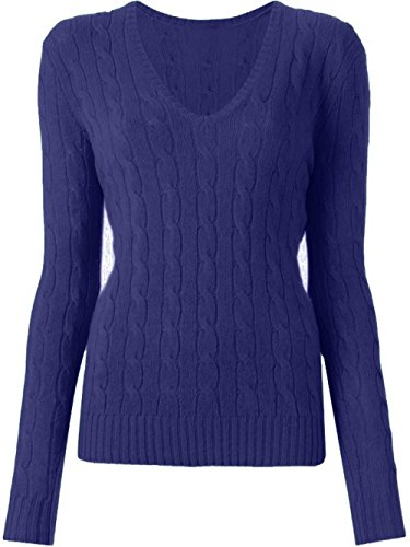 Up Town Uptown Women's Luxury V Neck Cable Knit Sweater Cotton Jumper Top