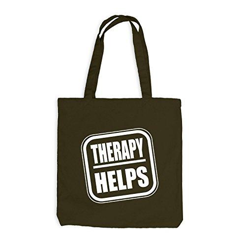 Jutebeutel - Therapy Helps - Fun Spaßmotiv Therapie Spruch Olive