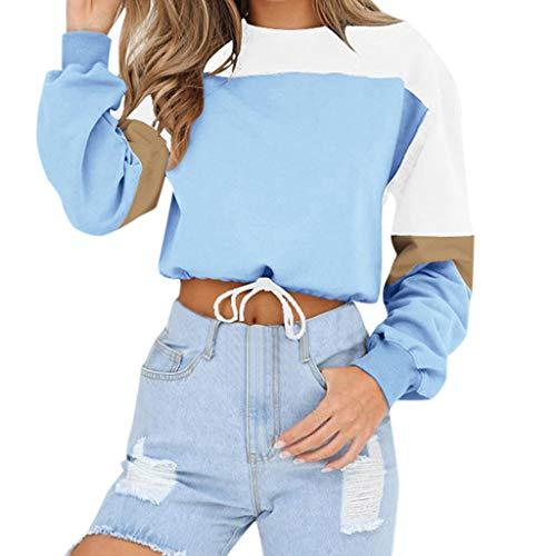 KUDICO Damen Sweatshirt Fashion Fashion Splicing Color Lange Ärmel lose Pullover Tops Bluse Oberbekleidung, Angebote!(Hellblau, EU-40/CN-XL)