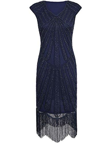 kayamiya Damen Retro 1920er Jahre Inspirert Perlen Art Deco Franse Flapper Kleid XL Blau