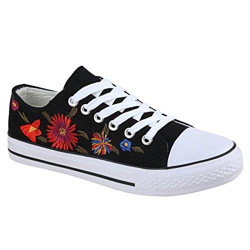 Modische Damen Sneakers Low Bestickte Turnschuhe Blumen 136118 Schwarz Flower Muster 38 - Bestickte Sneakers