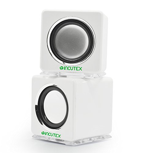 Incutex altavoces LED portátiles coloridos, altavoces para ordenador y portátil, blancoavoces LED...